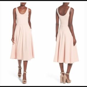 Leith (Nordstrom) Stretchy Midi Dress in Blush